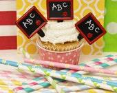 Apple Cupcake Picks, 12 Chalkboard Slate Toppers, Chalkboard Cupcake Picks, Back To School, Chalkboard Teacher Cupcake Decoration, School