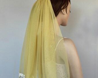 Bridal Veil, Pastel Yellow Tulle, Lace Applique Trim, Unusual Veil, Unique Design. Handmade