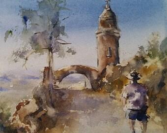 "Riverside, landscape, path, figurative. Walk Around Mt Rubidoux - Original Watercolor Painting (6"" X 6"")."