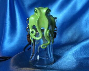 The Absinthe Kraken Shot, Octopus Sculpture on Vintage Glassware by Elstwhen.