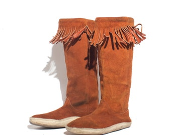9 | Women Burnt Sienna Tall Leather Fringe Moccasin Boots with Rawhide Soles