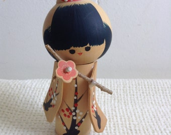 Wood Kokeshi Doll Figure.  Japan.  Vintage Modernist. Mod, Mid century.