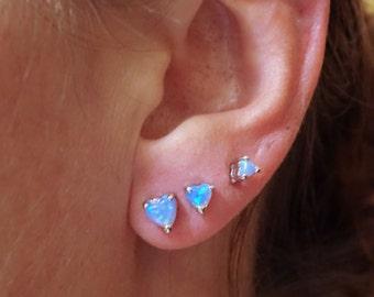 Light Blue Heart Fire Opal Post Earrings