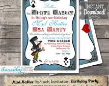 Mad Hatter Tea Party Invitation - Alice in Wonderland - INSTANT DOWNLOAD - Editable & Printable Birthday Invitation by Sassaby