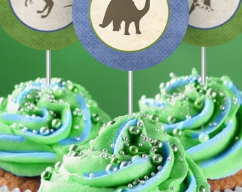 Dinosaur 2 inch Party Circles - INSTANT DOWNLOAD - Editable & Printable Birthday Decorations by Sassaby