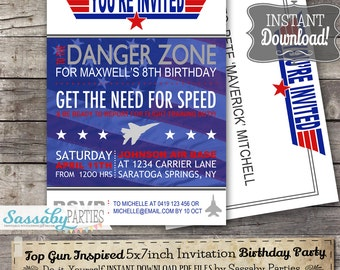 Top Gun inspired Fighter Jet Pilot Invitation - INSTANT DOWNLOAD -  Partially Editable & Printable  Birthday Party Invite by Sassaby Parties