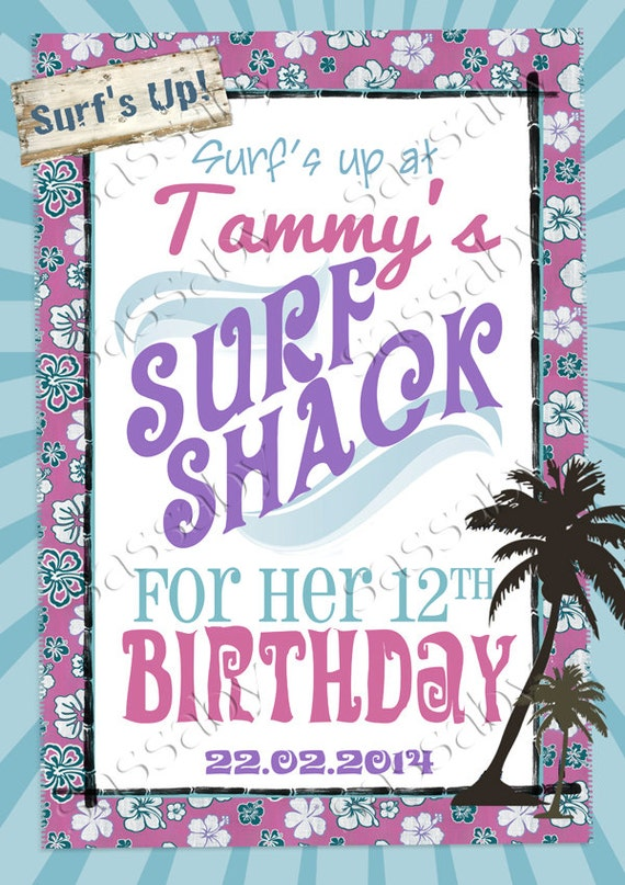 Vintage Surfer Girl Poster Sign - INSTANT DOWNLOAD - DIY Editable & Printable Birthday Decorations Birthday Party by Sassaby