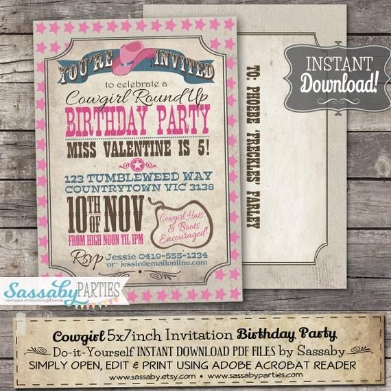 Cowgirl invitation instant download partially editable il570xn stopboris Gallery