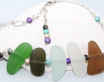 PEI Green, Olive Green, Aqua, White and Brown Sea Glass Necklace (Ocean Pebbles)