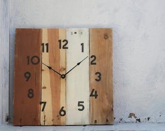 Earthy, Neutral, Rustic Wall Clock. Pallet Wood Clock. Wedding.  Housewarming. Gift. Reclaimed Wood Clock.  Kitchen. Home Decor. Beach