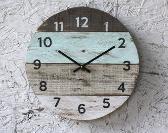 Beach house clock. handmade round clock. reclaimed wood wall clock. Pale seafoam green Pallet Wood Coastal Decor. Modern. kitchen clock