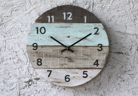 Beach Clock round, reclaimed wood wall clock. Pale seafoam green Pallet Wood.  Beach - Beach Clock Round Reclaimed Wood Wall Clock. Pale Seafoam