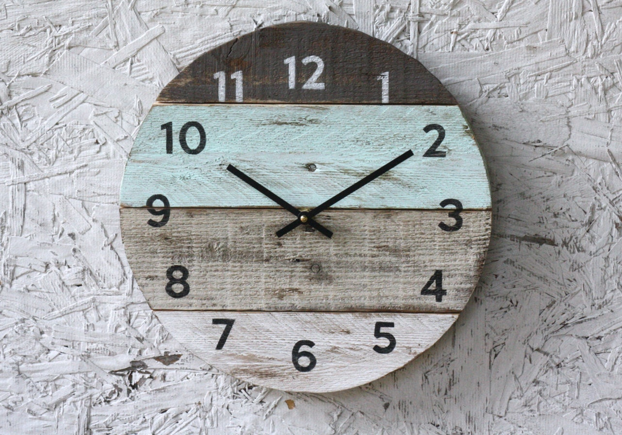 Beach clock round reclaimed wood wall clock pale seafoam zoom amipublicfo Image collections