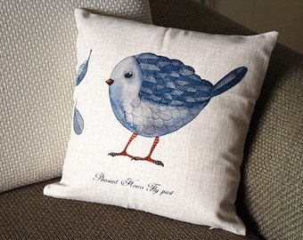 "Designer Linen Pillow - beige blue bird and Floral Pillow Cover -18"" 45 cm /22"" 55 cm Decorative Cushion Cover Throw Pillow cover  81"
