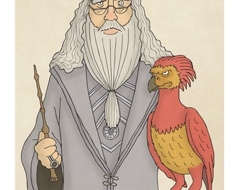 Albus Dumbledore and Fawkes the Phoenix -  Harry Potter Art - Harry Potter Prints - Harry Potter Portrait -  Illustration Art Print