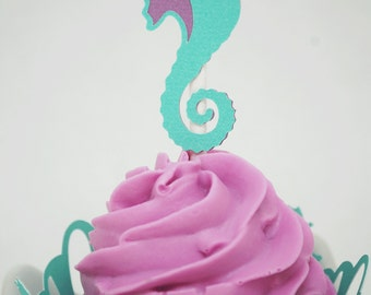 Seahorse Cupcake Toppers In your choice of color Qty 12