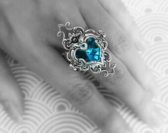 Valkyrie's Heart Swarovski Crystal Silver Ring - Bermuda Blue