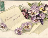 French Love Letter Kisses and Caresses Beautiful Purple Pansies ready for Spring time Romance Vintage Postcard