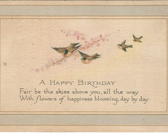 Birds and Cherry Blossoms Greet the Receiver on this Vintage Postcard Published by Gibson Art Co.