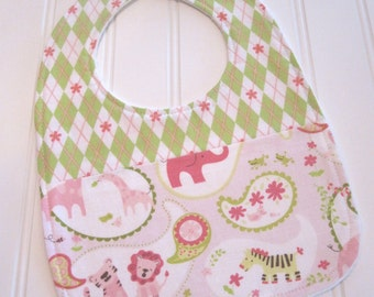 SALE/Baby Bib/Infant--18 mo./Animal Paisley in Pink/Organic Fleece Back