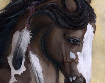 Rose Bay Overo Blaze War Horse Stallion Profile Oil Painting 8 x 10 Art Print - Brandy Woods