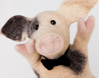 the piglet hand puppet, wet felted. READY To SHIP