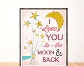 I Love You to the Moon and Back, Baby Girl Nursery, Children's Wall Art, Nursery Decor, Illustration, Print, Girl Room Decor, LilyCole