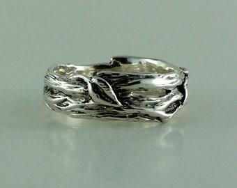 Sterling Silver Leaf & Twig Wedding Band, Tree Branch Ring, Leaf Ring, Twig Ring, Twig and Leaf Ring, Twig Wedding Band, Branch  Band