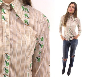 Vintage 70s Fitted Jersey Shirt, Floral Top, Pointy Collar Blouse, Boho, Hippie ΔΔ xs / sm