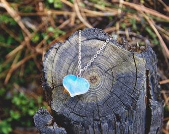 Hypnotic firey opalite heart necklace