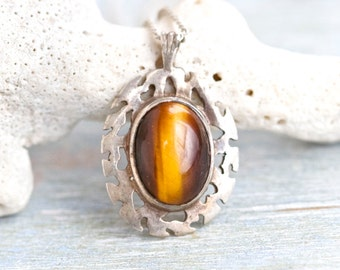 Tiger Eye Necklace - Celtic Sterling Silver Pendant on Chain