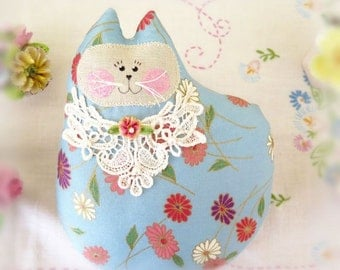 Cat Pillow Doll Cloth Doll 7 inch Cat, Blue and Coral Print ,Primitive Soft Sculpture Handmade CharlotteStyle Decorative Folk Art