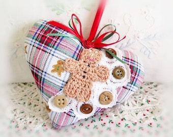 Heart Gingerbread Man Christmas Ornament Heart 5 inch Door Hanger GINGERBREAD, Primitive Handmade CharlotteStyle Decorative Folk Art