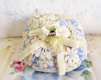 PINCUSHION Handmade Soft Sculpture BLUE and YELLOW Handcrafted CharlotteStyle Needlecraft