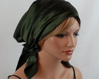 Silk Charmeuse Tichel, Pine Hair Snood, Head Covering Scarf Bandana, Chemo Wrap, Sinar or Apron Tichel, Jewish Head covering