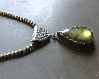 Labradorite Pyrite Sterling Necklace