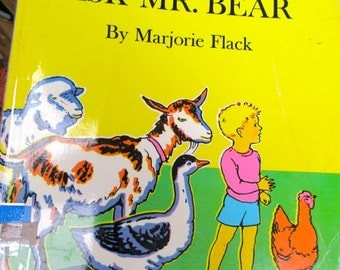 Child's book Ask Mr. Bear softcover story by Marjorie Flack Vintage picture book kids literature paperback Mother Boy Bear Hugs Love gift