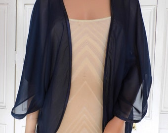Navy blue chiffon kimono/jacket/wrap/cover-up/bolero with satin edging