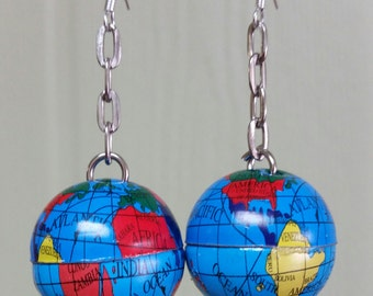 Recycled Whimsical Globe Earrings