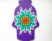 Hamsa Wall Art, Mehndi Mandala Burst, 9 inch Hand Painted Hand of Fatima Wall Hanging, Housewarming, Holiday Gift