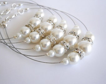 Bridesmaid Bracelet set of 6 , Bridesmaids Gift, White Ivory Glass Pearl Bracelet, Bridal Jewelry