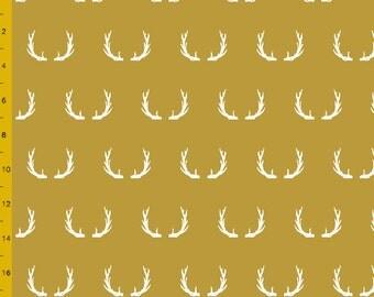 Crib Blanket Mustard Antler - Crib Blanket - Baby Blanket - Minky Blanket - Antler Baby Blanket - Deer Crib Blanket - Mustard Baby Blanket
