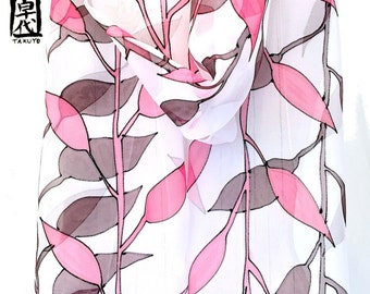 Silk Scarf Long Handpainted, ETSY scarf, Pink and Brown Scarf, Silk Chiffon Scarf, Japanese Woodblock Print Leaves Scarf, 11x90 inches.