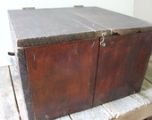 Old Wood Box / Vintage wood box / Handmade storage box / Brown / Hope chest / Man cave decor / Toy Box / Husband Gift