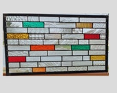 Stained glass panel window hanging geometric strips clear rainbow stained glass window panel suncatcher