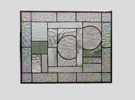 Simply clear stained glass window panel geometric abstract stained glass panel window hanging modern home living suncatcher