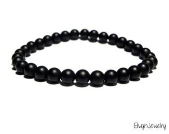 Gemstone Bracelet, Black Onyx Bracelet, Black Men's Bracelet, Mens Bracelet, Mens Jewelry, Matte Onyx, Mens Beaded Bracelet, Mens Gift