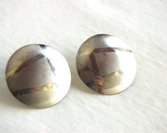 SALE Sterling Silver Disc Earrings Vintage Southwestern Posts Modern Geometric Lines Statement Earrings