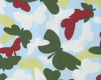 OTTOBRE design Butterfly Cotton poplin in Light Blue base, 1 meter