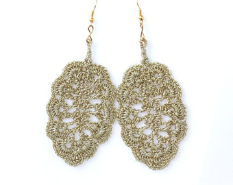 Crochet leaf earrings Statement jewelry Big dangle earrings